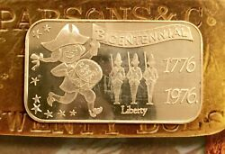 Isic-16 Bicentennial 999 Silver Art Bar 1 Troy Oz Minted In 1975 Very Rare Find