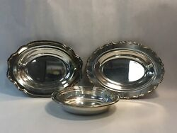 Set Of Three 3 Silver Plate Flat Dish Plate Bowls Two Oval One Round