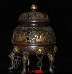 8.8andrdquoold China Antique Collection Red Copper Gold Plating Phoenix Incense Burner