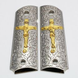 1911 Grips - Full Size - Government - Commander - Nickel Plated - Scroll Cross.