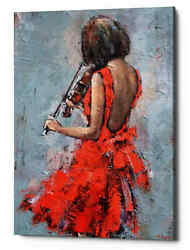 Epic Graffiti And039violinist In Redand039 By Alexander Gunin Giclee Canvas Wall Art