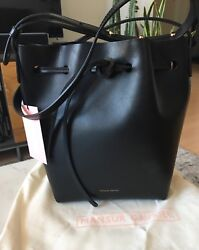 Mansur Gavriel Mini Bucket Bag Black With Dark Blue Interior Authentic $286.00