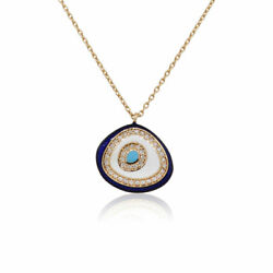 18k Rose Gold 0.18ctw Diamond Blue And White Eye Free Form Pendant Necklace