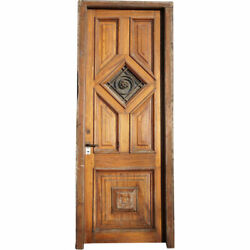 Antique Argentine Cedro Mahogany Wrought Iron Single Entry Door And Jamb C. 1910