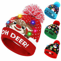 LED Christmas Beanie Knit Hat Light Up Xmas Warm Cap Kids Adult Xmas Gift Winter