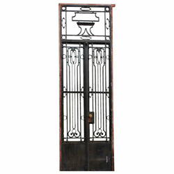 Antique Argentine Beaux Arts Wrought Iron Double Door Entry And Transom C. 1920