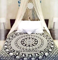 Queen Wall Hanging Cotton Bedcover Elephant Mandala Black Tapestry Bedding Throw