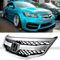 Fit 11 12 Accord 4dr Mod Style Honeycomb Bumper Chrome Mesh Grill Grille