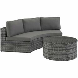 Crosley Catalina 2 Piece Wicker Curved Patio Sectional Set In Gray