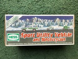 2004 Hess Truck Race Car Sport Utility Vehicle And Motorcycles Brand New