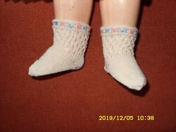 Antique Pattern Socks Ivory Embroidered For Antique French German Doll