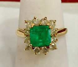 Vintage 14k Yellow Gold Colombian Emerald 2 Cts And Diamond .60cts Ring Size 5 3/4