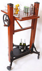 One Of A Kind Bar Cart, Mechanical, Vintage, Antique, Wood And Iron, Machine Age