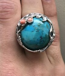 Stunning Large Turquoise Coral Ring 925 Silver Men Women Southwestern. New