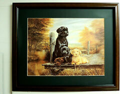 Lab Dog Picture Chocolate Black Yellow Puppies Ruane Manning Matted Framed 16x20