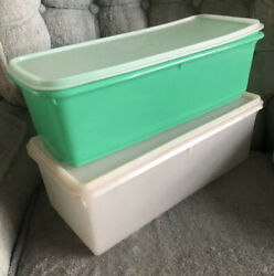Vintage Tupperware Veggie Keeper And Bread Box Container Lightly Used