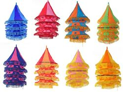 6 Pc Wholesale Lot Indian Lawn Garden Decor Boho Indian Cotton 4 Step Lampshade