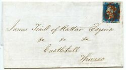 Scarce 1840 Cover With 2d Blue Pl 1 From Wick Addressed To Thurso With Red Mc