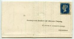 Rare 1844 Cover With 2d Blue Pl 1 From Aberdeen With 1844 No 1 Numeral In Black