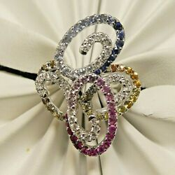 18k White Gold Color Sapphire Diamond Ring 2.5 Ct Total Weight Size 7.75