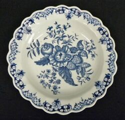 Dr. Wall Worcester Pinecone 7 1/2 Blue And White Scalloped Bowl C 1780 D