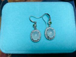 Certified 18k Gold And Diamond High Quality Glassy Icy Grade A Jadeite Earrings