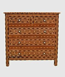 Handmade Wooden Bone Inlay Floral Design Chest Of 5 Drawers