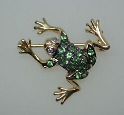 2ct 14k Yellow Gold Over Green Emerald And Diamond Vintage Frog Pin Brooch