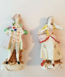 Pair Vintage Ceramic Figurines French Victorian Woman And Monsier Occupied Japan