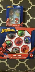 Marvel Spider-man Slime And 4 Pcs Metal Pin Set Brand New - Walgreens Exclusive