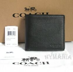 NWT COACH F75084 Men's Double Billfold Sport Calf Leather Wallet Black GIFT BOX