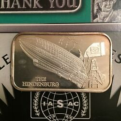 Isic-32 The Hindenburg 999 Silver Art Bar 1 Troy Oz Minted In 1975 Mintage 100