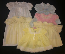 Vintage 1950s 1960s Baby Girl Toddler Dress Lot Of 6 Party Swiss Dot Lace
