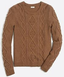 J Crew NEW Womens Extra Large Cable Knit Sweater Brown Camel ~ NWT $79.50