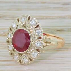 Mid Century 2.20ct Ruby And Diamond Cluster Ring - 18k Rose And White Gold - C 1960