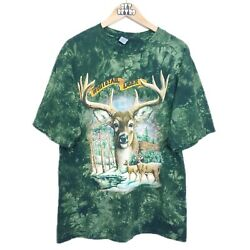 Vtg 90s Whitetail Deer Graphic Tie Dye T-shirt Sz L Green Buck Hunting Nature