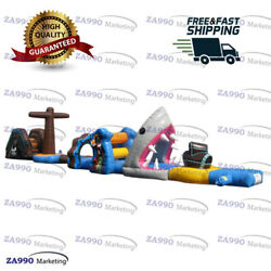 50x6.6ft Inflatable Pirates And Shark Course Obstacle For Pool With Air Blower