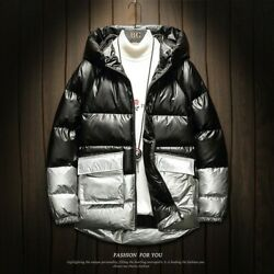 Men Hooded Cargo Pocket Cotton Padded Coat Outwear Glossy Quilted Jacket Tooling