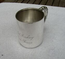 Fine 1880and039s And Co Sterling Childand039s Cup-wavy Pattern Handle-monogrammed-nr
