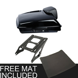 Chopped Pack Trunk +pad 2 Up Rack Fit For Harley Tour Pak Road King Glide 14-21