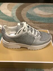 Nib 155 Cosmo Metallic Knit And Snake-embossed Leather Trainer 9.5m