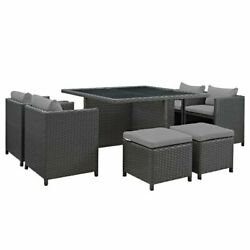Modway Sojourn 9 Piece 52 Square Glass Top Patio Dining Set In Gray