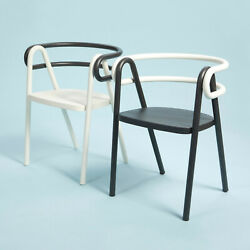 Contemporary Chair Bent Steel Tubes and Plywood Seat Set of Two Black