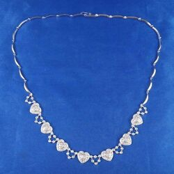 14k White Gold Heart Necklace W/ 132 Diamonds 1.50ct G-h Color Si1-si2 Clarity