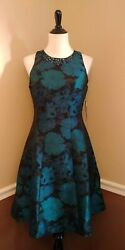 Black Teal Blue Green Floral Fit And Flare Dress 8 Cocktail Jewels Modcloth Dazzle