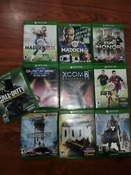 10x Xbox One Game Lot With Cases Call Of Duty Star Wars Destiny Doom Fifa Madden