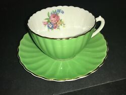 Bone China Cup And Saucer By Coalport Ribbed Green Pink Roses Floral Multicolor