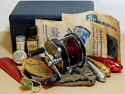 Rare Abu Record Sport 2100 Blue-agate Tournament Casting Reel+lined Wooden Case