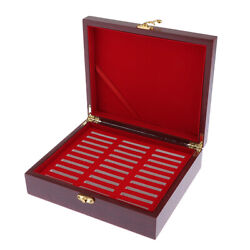 Wood Coin Display Box Collector Challenge Coin Holder, Holds 30pcs 46mm Coins