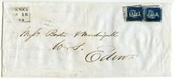 Rare 1844 Cover With Vertical Pair Of 1840 2d Blue From Dornoch To Edinburgh
